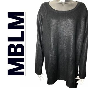 EUC MBLM Black High Low Long Sleeve Sweater Shiny
